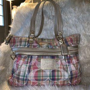 Coach Poppy Daisy Madras plaid shoulder bag.
